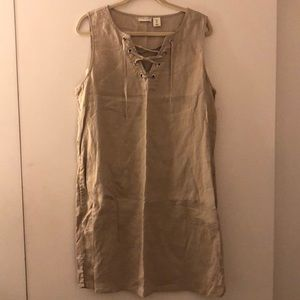 Linen Lace-Up Dress